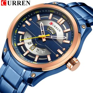 CURREN Relojes Hombres de acero inoxidable de cuarzo reloj de pulsera con calendario Business Casual Male reloj resistente al agua 30M Relogio Masculino