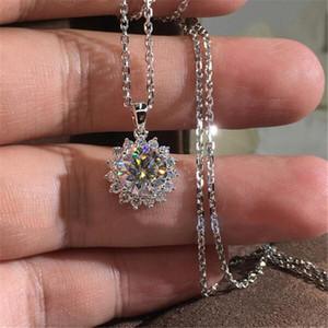 Las mujeres colgante Choucong nueva joyería de lujo de la llegada 925 Topaz blanco Partido Diamante CZ redondo de plata esterlina Cut Necklce regalo de boda