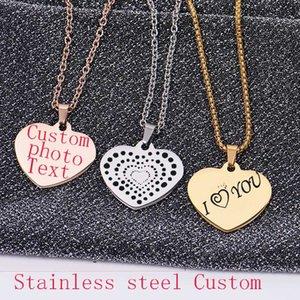 Basit Kalp Paslanmaz Çelik kolye Müşteri Kişiselleştirilmiş Gümüş Altın Tabela Oyma İsim Slogan Fotoğraf İşaret Kimlik Etiketi Takı