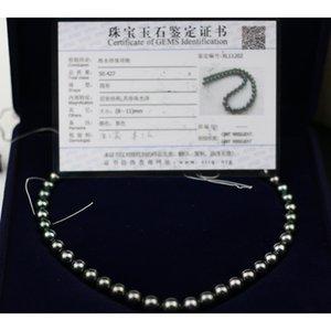 Madalena SARARA Подлинная Saltwater Pearl Tahitian Жемчужное ожерелье Классический стиль Оригинальное ожерелье из бисера 8мм-11мм