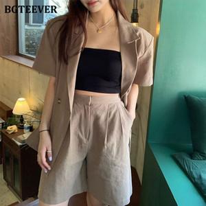 BGTEEVER mujeres de la vendimia se adapta a la chaqueta con cinturón flojo pantalones cortos de verano de algodón de lino 2 Piezas Mujer 2020 Summer Pant Traje