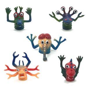 TPR Hayvanlar parmak kuklaları Çocuklar yumuşak plastik hikaye anlatımı sahne canavar Parmak oyuncaklar fingerstall Çocuklar performans Ev partisi oyuncaklar
