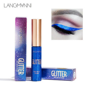 langmanni 10Color Glitter Eyeliner 메이크업 Natural Waterproof Pigments Shimmer 화이트 골드 실버 메이크업 Liquid Shining Eye Liner