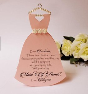 custom Will you be my bridesmaid maid of honor Proposal Cards wedding Dress invitations flower girl Bridal Party gifts favors