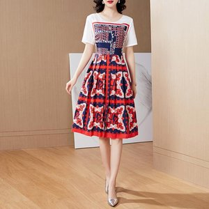 [Eye] Qian sister mm large size women extra padding Western style cover belly was thin summer dress by age easing