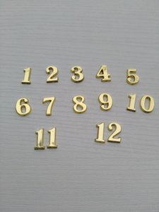 Altri orologi casa Orologi Complementi d'oro 1 0,5 centimetri 50 pz numeri di plastica Oro arabi per DIY Accessori Clock