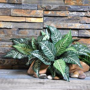 10 голов Зебра лист искусственные растения поддельные папоротник Зеленый лист дерево завод для дома украшения сада таблица декоративный завод