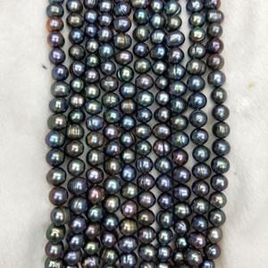 pavo real cultivada natural de agua dulce reales de perlas granos flojos del negro Ronda de perlas de agua dulce