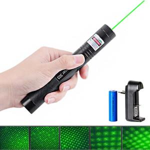 Yeni Lazer Pointer 303 Yeşil Lazer Pointer Kalem 532nm Ayarlanabilir Odak Pil ve Pil Şarj AB ABD 0.5W
