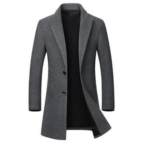 Winter-Wolle-Jacke Herren Qualität Wollmantel beiläufiger dünner Kragen Wolle lange Baumwollkragen Trenchcoat Mantel Männer