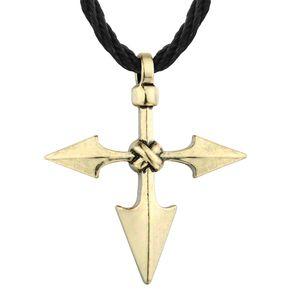 Huilin Joyería Lanza Colgante Personalidad Estilo Creativo Cruz Colgante Collar eslavo de los hombres