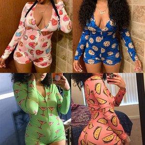 Tasarımcı Kadınlar Pijama Onesies Gecelik tulum Egzersiz Düğme Sıska Karikatür Baskı Tulumlar V yaka Kısa Onesies tulum C185
