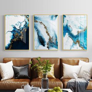 Nordic Soyut Renk Spalsh Mavi Altın Tuval Boyama Posteri ve Baskı Oturma Odası Yatak Odası Için Benzersiz Dekor Duvar Sanatı Resimleri