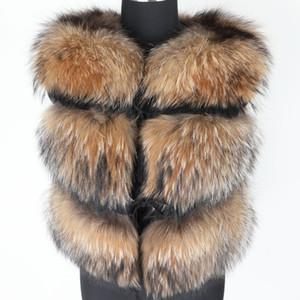 Maomaokong 2019 bayanlar kış doğal kürk Yelek moda rakun kürk kısa ılık Coats