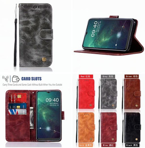 For Samsung Galaxy A10S M30S A20S Huawei MATE 30 PRO Moto E6 Plus Retro Wallet Leather Case Crazy Horse ID Card Stand Strap Skin Cover 50PCS
