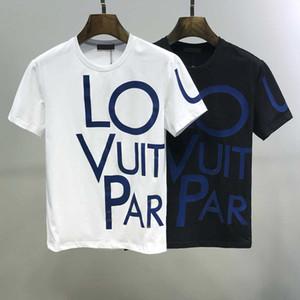 2020 أزياء رجالية الأزرق LOVUIT T-Shirt حار طباعة هذه الرسالة القصيرة الأوروبي كم والأمريكية نمط جولة الرقبة القطن طباعة تي شيرت
