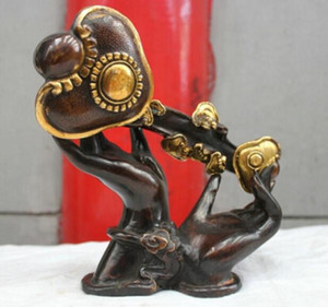 Arte Bronce Decoración Artesanías Latón Cultura popular china Estatua de bronce de bronce hecha a mano Buda de la mano Escultura RuYi