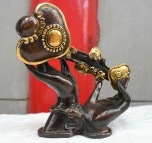 Kunst Bronze Dekoration Handwerk Messing Chinese Folk Culture Handmade Messing Bronze Statue Buddha Der Hand RuYi Skulptur