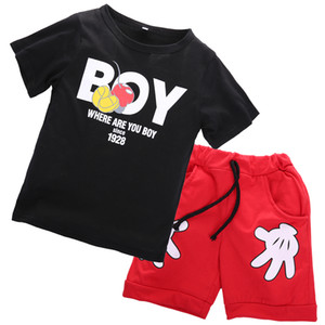 Minie Mouse Kids Toddler Boy disfraces disfraces Boy Kids Boy camiseta + Cartoon Hands Shorts Ropa Casual Set Ropa de verano 2-7Y