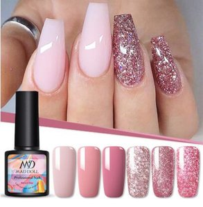8ml Gel UV Nail Polish Rose Gold Glitter Sequins Mergulhe prego Off UV Gel Verniz Cor Gel Polish DIY Nail Art Lacquer