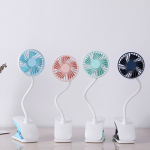 Summer Cooling Creative mini usb fan Plastic Charging Portable Desktop Hands-free with LED table lamp,long soft swing arm and clamp base