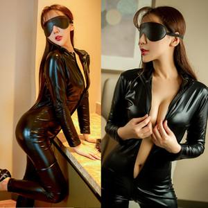 PU de couro Sexy Body de Ginástica Romper Mulheres Olhar Molhado Frente Zipper Macacão Catsuit macacãozinho Ladies Club usar roupas