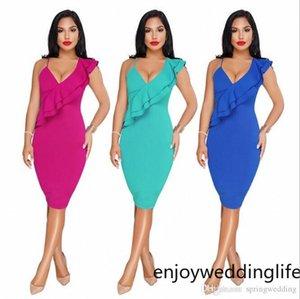 2020 Seksi V Yaka Kadın Günlük Elbiseler Eğik Omuzlar Fanila sapanlar BODYCON Elbiseler Yaz Lady sokak giyim Sıkı Kalem Etek FS3491