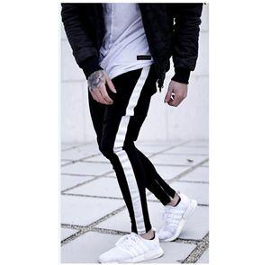 Estilo quente dos homens hip hop erkek pantolon ajuste apertado listra lápis calças novos homens Sweatpants magro pantalon homme varejo atacado