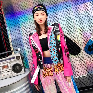 Top Brand New Spring Fashion Gute Qualität Nieten Leopard Ladies Street Frauen PU Lederjacke Gothic Lederjacke Frauen SH190903