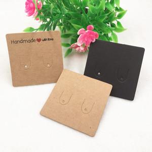 100pcs 5 * 5cm Forma cuadrada Vintage Papel Kraft Tarjeta de embalaje de pendientes pequeños Tarjeta de exhibición de joyería de niña Aceptar Personalizar logotipo