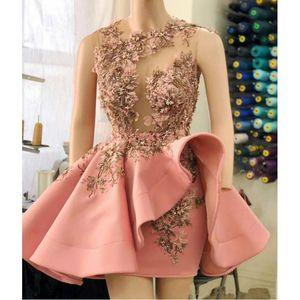 Blush Pink Short Cocktail Dresses Ruffles Peplum 3D Floral Appliques Beaded Sheer Neck Party Dress Mini Illusion Prom Dress