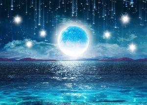 3D 벽 벽화 벽지 밝은 달 아름다운 밤 하늘 별이 빛나는 달 풍경 거실 벽