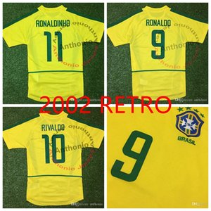 Üst 2002 Brasil Retro Vintage Klasik Ronaldo 9 Rivaldo 10 Ronaldinho 11 Tayland Kalite Futbol Formaları Üniforma Futbol Gömlek Boyutu S-XXL