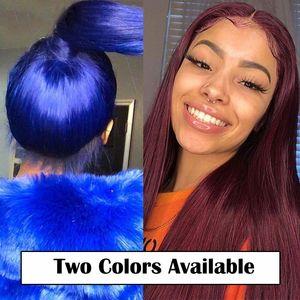 Mavi Kırmızı 13x6 Dantel Ön Peruk Düz Renkli İnsan Saç Peruk 99j 150 Yoğunluk Şeffaf Dantel Peruk Brezilyalı