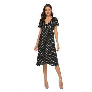 Женщины шифон пляж юбка лето Новый V-образным вырезом Sexy Wave Dot печати платье отдыха с короткими рукавами богемское платье 3 Цвет Размер S Для XL
