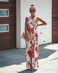 Partei-Kleid-Frauen Kleidung Arthalter beiläufige lose weibliche Sommer-Kleid Boho lange Maxi-Feiertags-Party-Sleeveless Kleid Designerkleidung