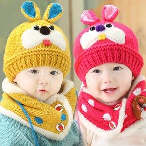 New Little Rabbit Buck Teeth Baby Winter Beanie Hat y bufanda de punto Niños pequeños Niños Gorra de pasamontañas Esquí al aire libre Deportes Conjuntos de bufanda