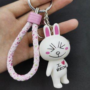 Мультфильм Кролик Lucky Cat Doll Подвеска Keychains PU цветочной Плетеный шнур брелок Кожа Плетеные омары пряжка брелок