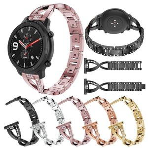 Luxo Stainless Steel Watch Band Strap Para Huami Amazfit GTR 47 milímetros 42 milímetros de substituição Metal Alloy pulseira Mulheres Crystal Bracelet