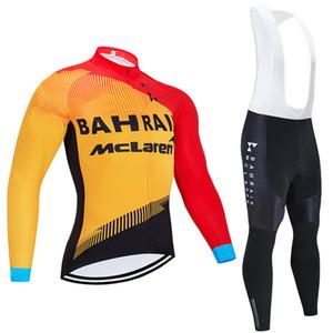 Зима задействуя Джерси Set 2020 джерси велосипеда Pro Team BAHRAIN термальной ватку задействуя одежду Ropa Ciclismo Invierno MTB нагрудника брюки комплекта
