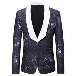 Mens Fashion projeto Blazers Outono Inverno Wear Impressão Casual One Button Voltar Slit Masculino Casual Suit