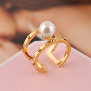 Brass material Opening Ring Mid Finger Knuckle Rings with pearl 0.8cm beads spring combination Rings Geometry Style Jewelry PS6426