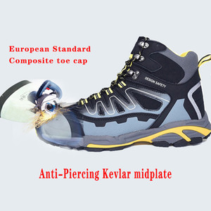 Kompozit Toe Cap Erkekler İş Boots İnşaat EN20345 Endüstriyel Güvenlik Ayakkabıları Anti-Smashing Delinme Dayanıklı Kaymaz