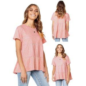 Februaryfrost Marque Designer Casual Summer femmes à manches courtes en vrac Chemisier Haut Bas Hem Ruffle Peplum Tops T-shirts Livraison gratuite