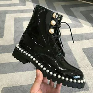 Hot Sale-Hot Short Motorcycle Boots Wrink Patent leather Lace Pearls Martin Boots Winter Snow Shoes