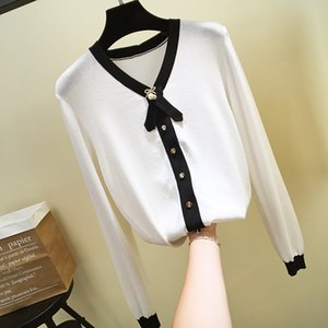N14 2019 осень белый / черный / синий Colorblock трикотажные кнопки пэчворк кардиганы свитер с длинным рукавом V шеи мода свитера O19SPRCAR300