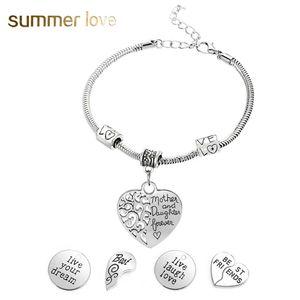 Hot Sell Pendente a cuore Best Friend MotherDaughter Love Forever Inspirational Charm Snake Chain Bracelet per la tua MomFriend