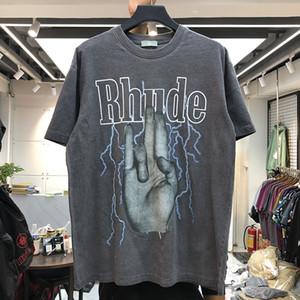 Летний стиль Rhude Finger тройники Faded с коротким рукавом Футболка Мужчины Женщины HipHop 100% хлопок Промытые Крупногабаритные T Shirt Men Ганна