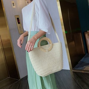 Popular Women's Straw Bag Paper Shoulders Hand-Woven Bag Holiday Woven Beach