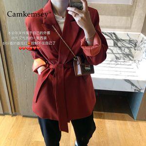 CamKemsey Office Lady coréenne loisirs Blazer 2020 Vestes Printemps Automne __gVirt_NP_NNS_NNPS<__ vestons Gilet réglable Casual Baudrier